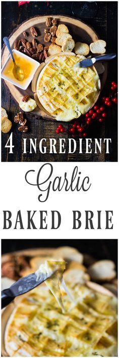 This gooey garlic baked brie has only 4 ingredients and takes 15 minutes to prepare! It comes out of the oven gooey and cheesy and loaded with rich garlic and herb flavors! This is the ultimate holiday appetizer for any party!