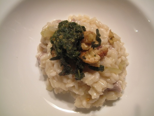 Pork & Cider Risotto with Sage Pesto and Fried Sage and Chestnut Topp ...