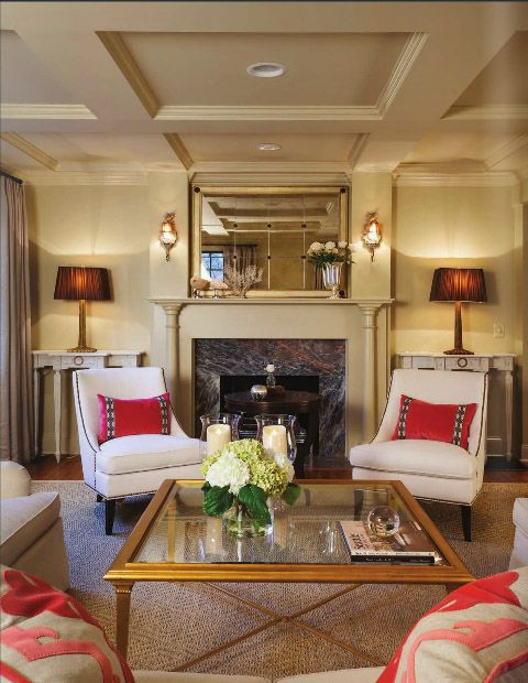 Lacefield Coral Velvet Pillows   Interiors By Charlotte Designer Anne  Buresh | As Seen In Charlotte. Furniture Around FireplaceThe ...