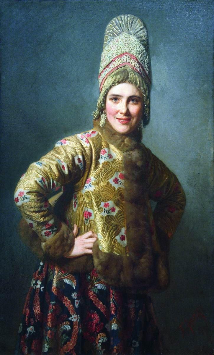Carl Bogdanovich Wenig - Russian girl, (1889).