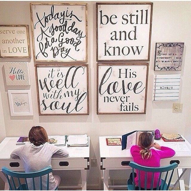 -i love this grouping of words!TODAY IS a good day to stand and believe in a promise of God || His Love NEVER fails || signs in our shop-click link in profile thank you @freshwaterfarmhouse for sharing your school space❤️ @aedriel #houseofbelonging #warriorwords #wallart