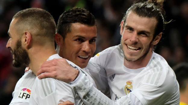 Gareth Bale became the leading British goalscorer in La Liga history as Real Madrid thumped Sevilla in an action-packed match at the Bernabeu.
