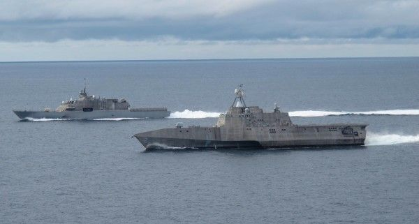 USS Freedom (LCS 1), left, and USS Independence (LCS 2),