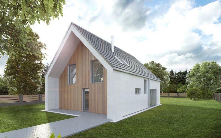 Exteriér domu je navržen v kombinaci bílá omítka a dřevěný svisle orientovaný modřínový obklad. Střecha je navržená jako dvouplášťová s provětrávanou mezerou. Dostatečnému prosvětlení místností v podkroví pomáhají střešní okna.