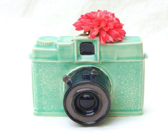 Diana Camera Ceramic Vase  Neptune color scheme by gutentagfibers, $25.00