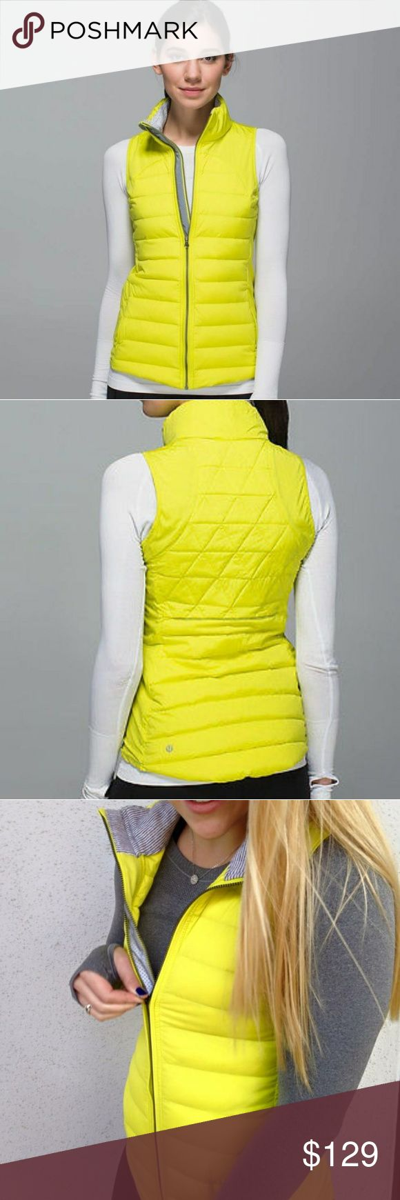 Goose down yellow quilted lululemon vest New condition lulu vest in bright Yellow! Filled with 800-fill-power goose down and PrimaLoft insulation. Water and wind resistant Stretch Glyde fabric. *PrimaLoft insulation. lululemon athletica Jackets & Coats Vests