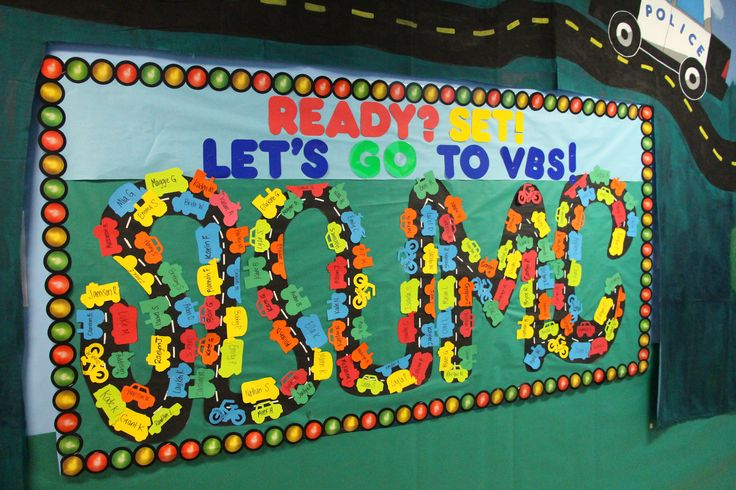 Love this look for a bulletin board. Create a path/road and add names of kids who are ready for G-Force VBS! Test church idea! www.cokesburyvbs.com