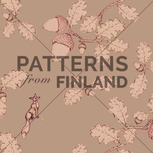 Treetop – Oakfox by Ilana Vähätupa   #patternsfromagency #patternsfromfinland #pattern #patterndesign #surfacedesign #printdesign #ilanavahatupa