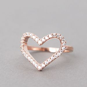 Rose Gold Heart Ring CZ Heart Ring