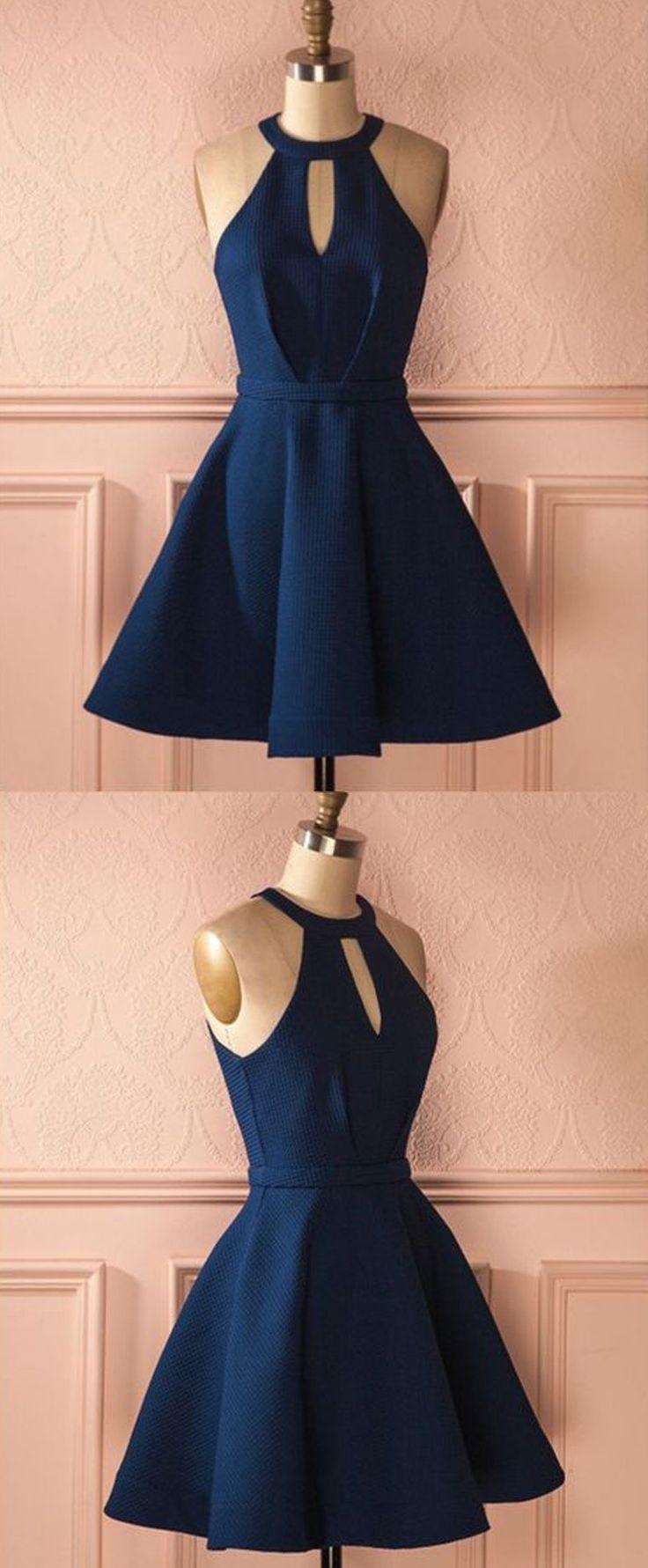 » Cute A Line Halter Navy Blue Short Dress, Elastic Satin Navy Short Homecoming Dress with Pocket Under 100 HD0711003
