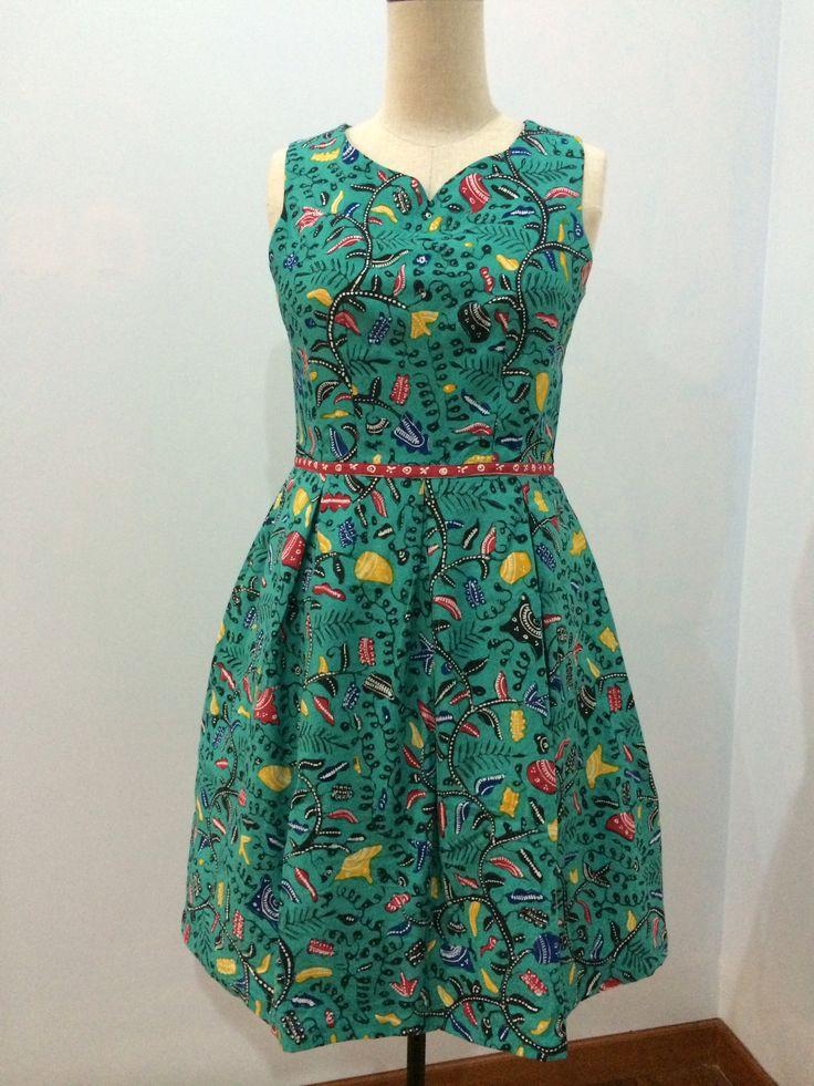 Dress made from batik tulis Indramayu. Dress is made by Dongengan (Facebook: https://m.facebook.com/dongengan)
