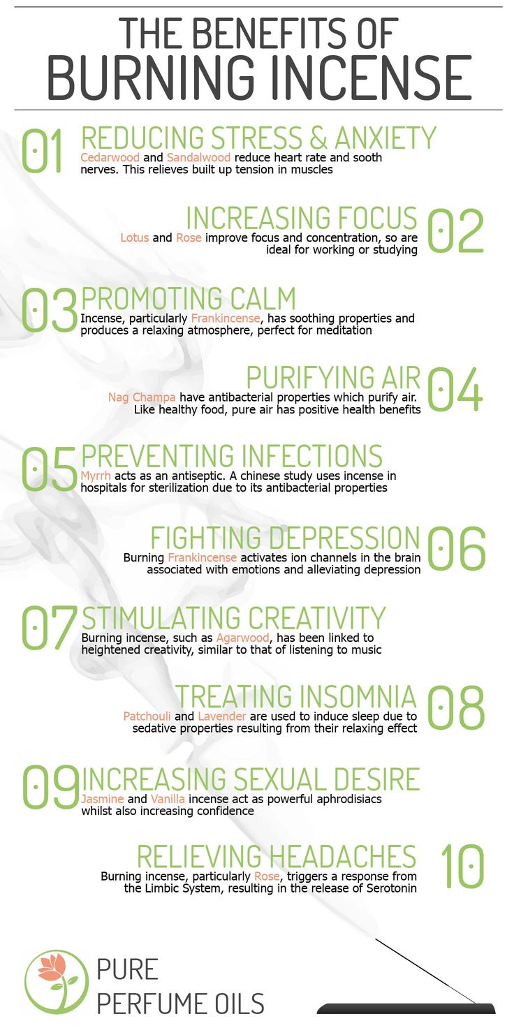 The 10 Benefits of Burning Natural Incense Although diffusing essential oils is even more beneficial.