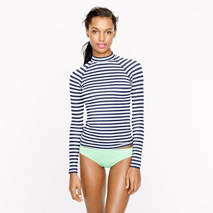 I am in love with the new stripe rash guard.  And it has a zipper so an not to strangle oneself when putting it on.  :-)