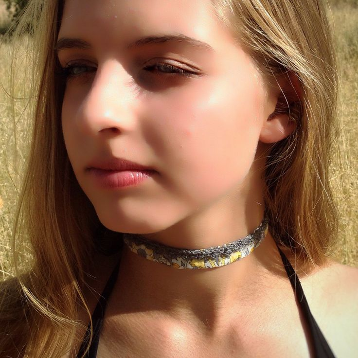 Soft Fabric Choker with Crochet Detail in Yellow and Grey, now in store!