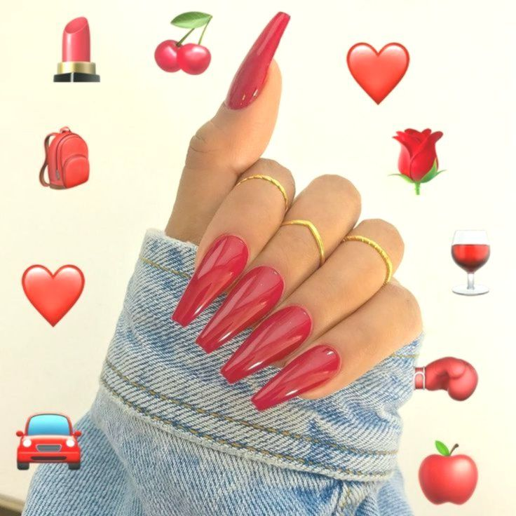 rote Nägel folgen @aestnails für mehr – – – #aesthetic #tumblr #acrylicnails #… – Delivery Blog