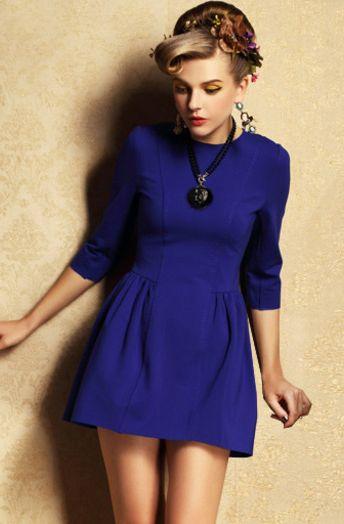 Vestido azul electrico manga larga
