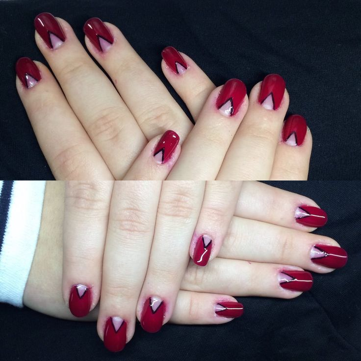 Gel Lac Red and Black Manicure