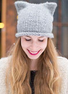 Einfache Strickanleitung für eine süße Mütze mit Katzenohren, Stricken lernen / easy knitting diy with pattern: winterly beanie wit cat ears via DaWanda.com