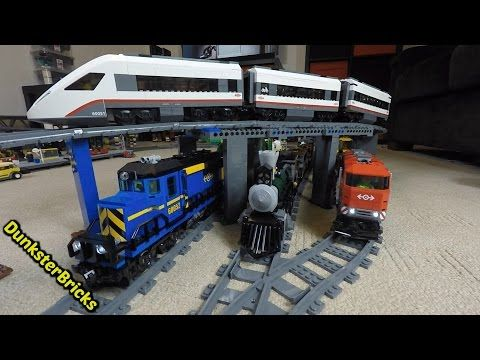 LEGO Train Track Setup! Passenger, Cargo and Steam Trains, with Slopes and Bridges! Fills Two Rooms! - YouTube
