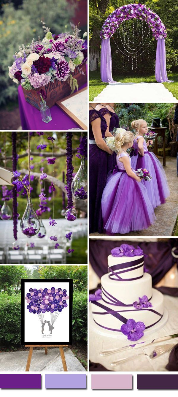 Coloring pages wedding theme - Light And Dark Purple Wedding Theme Ideas