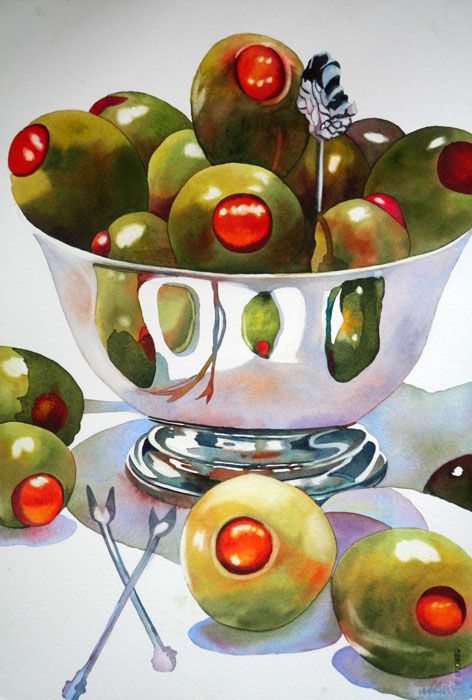 Anne Abgott's Watercolor- | Silver  Study how reflections occur: