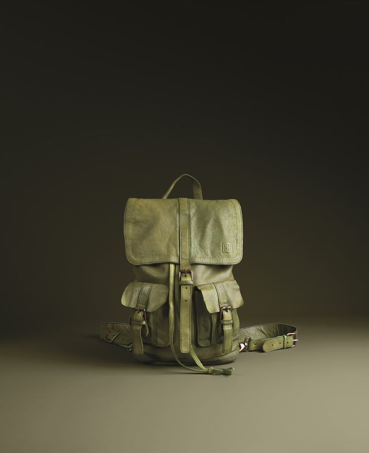 Timeless Collection | Leather backpack Pistachio green