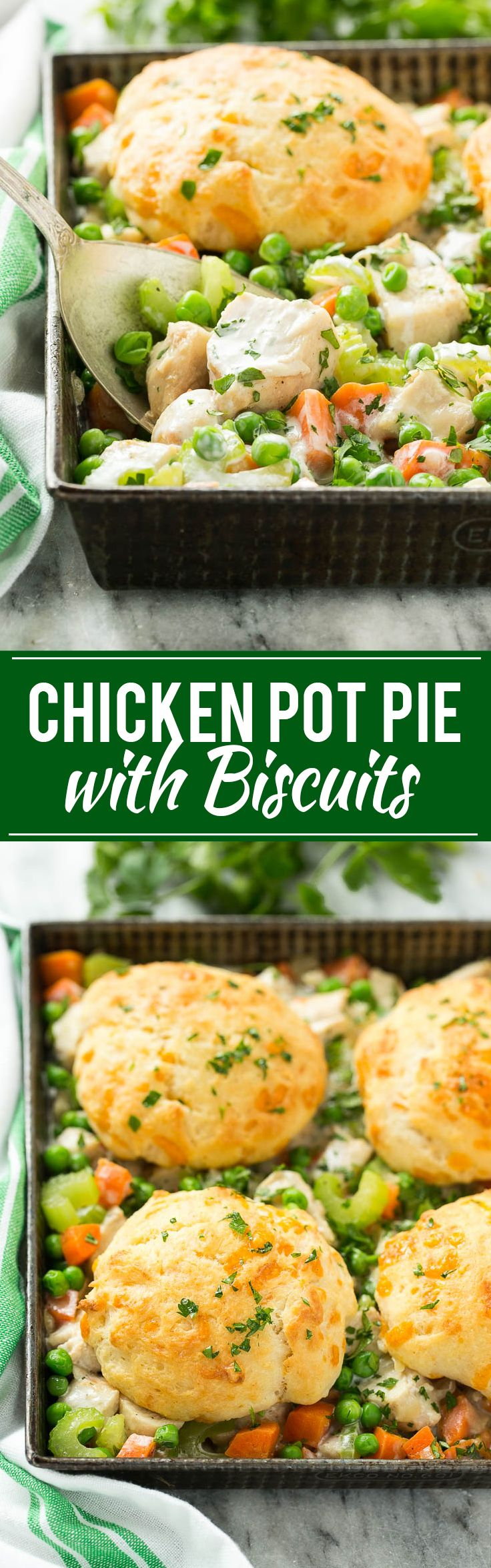 This recipe for biscuit chicken pot pie is a creamy mixture of seasoned chicken, vegetables and herbs that's been topped with flaky cheddar biscuits and baked to perfection.