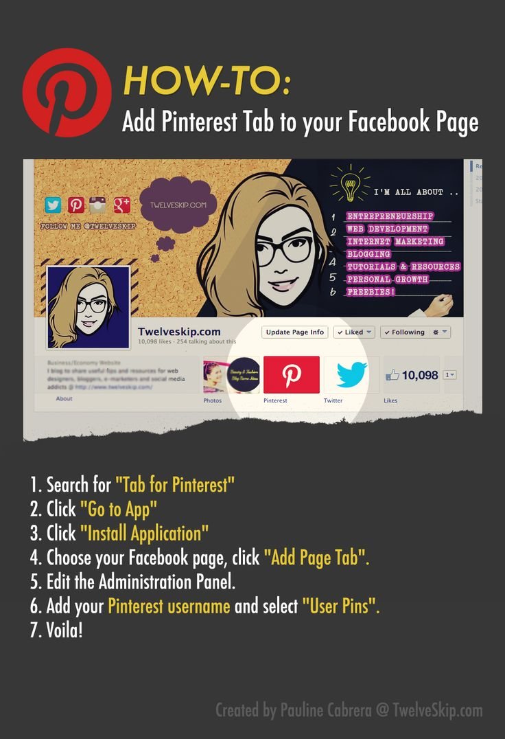 How to add Pinterest Tab to your Facebook Business Page. Read FULL details @ http://www.twelveskip.com/tutorials/facebook/1230/add-pinterest-app-tab-to-facebook-business-page  #pinteresttip #pinterest #socialmediatips