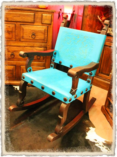 This Sierra Tooled Leather Turquoise Rocking Chair will be ideal to add to your rustic collection! #turquoisechair #rusticchair #rockingchair #leatherchair #rusticfurniture http://therusticgallery.com/home.php