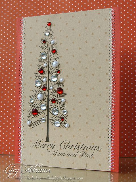 Lovely DIY: Christmas Tree. If you don't have a stamp, you can easily draw the tree. #card #paper