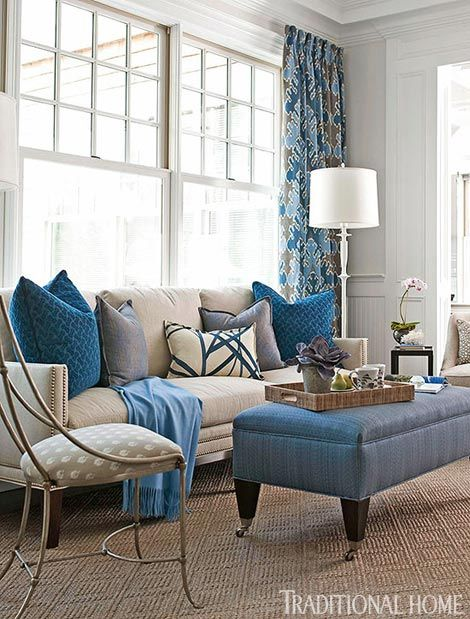 I like the color of the pillows - dazzling blue! living room designs, living  room decorating ideas - Dazzling Blue living room with a great floor lamp!