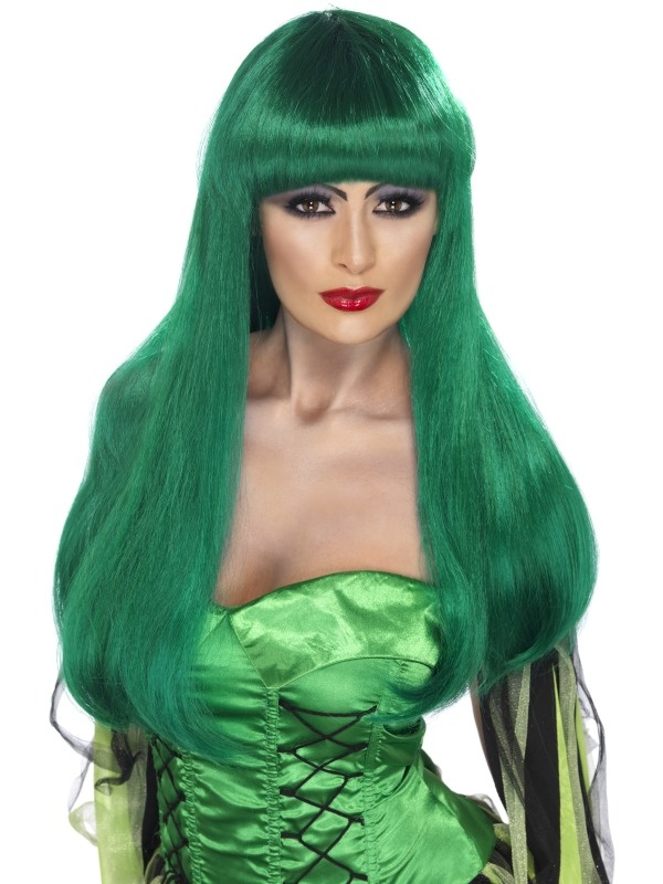 Green Glamour Witch Wig Halloween costumes women, Adult