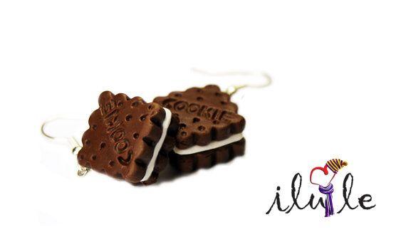 Earrings cookies sandwich sweet miniature Sweet earrings by IluLe