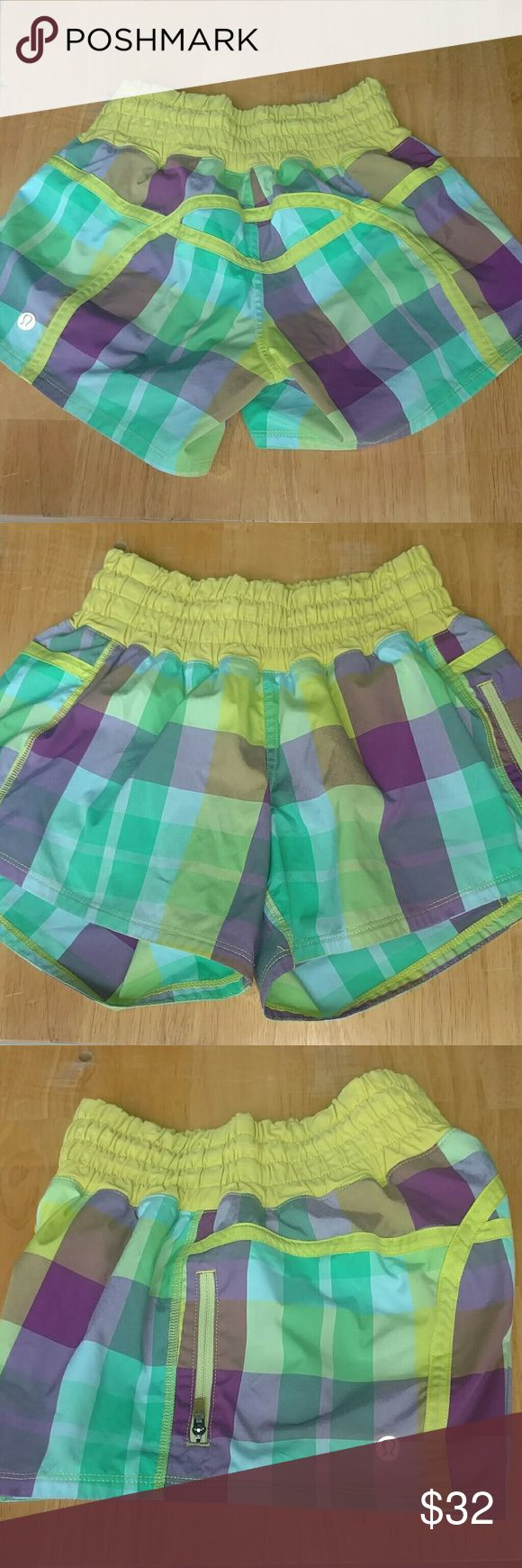 Lululemon Shorts In great condition lime green yellow band and plaid shorties lululemon athletica Shorts
