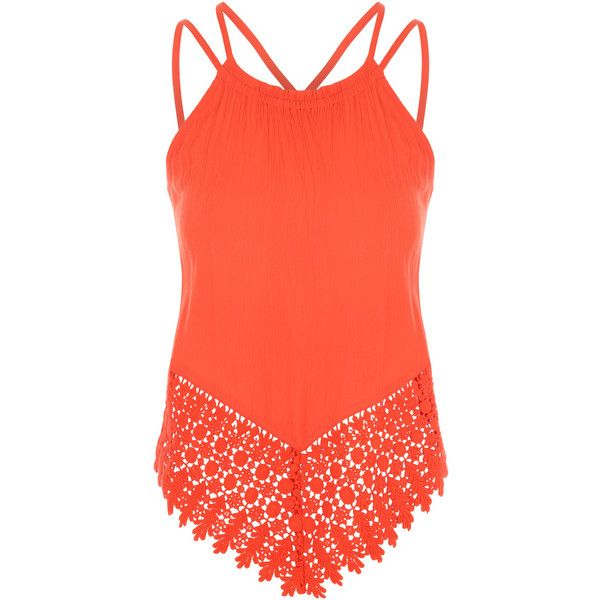 Orange Strappy Crochet Detail Top (£16) ❤ liked on Polyvore featuring tops, strappy top, spaghetti-strap tops, red holiday tops, red top and crochet detail top