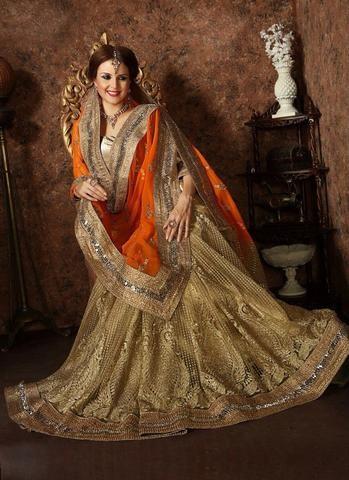 Orange & Beige Net www Online Shopping For Sarees ,Indian Dresses