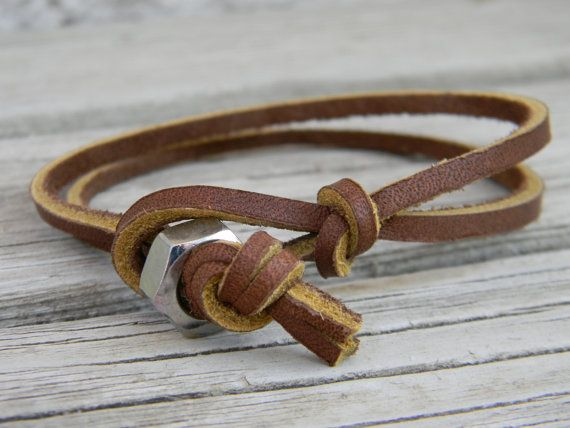 Mens Brown Leather Bracelet CODE 028 by MarinasSoul on Etsy, $9.99