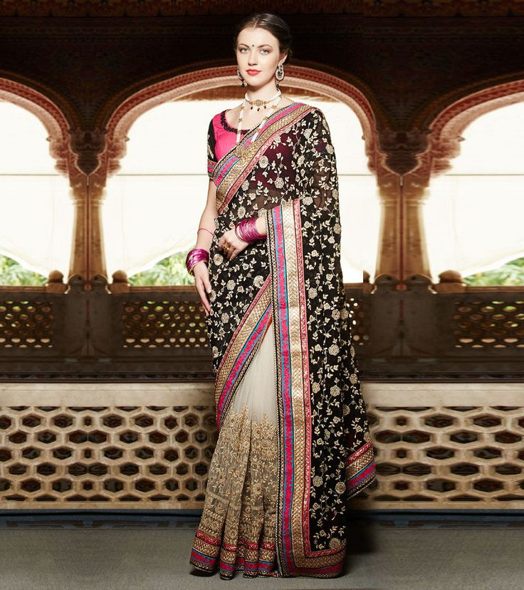 Gorgeous Black & Cream Embroidered Georgette & Net Saree By Kimora #Black #Wedding #Floral