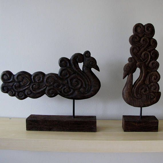 Wood sculptureFigurinePeacock.BirdMantle decorpiecewood