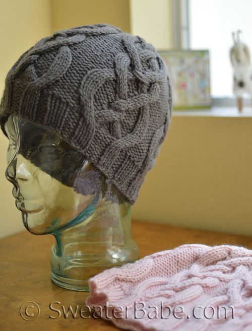 Lush cable design in a hat for men or women. A gorgeous gift to knit up in a cashmere blend.