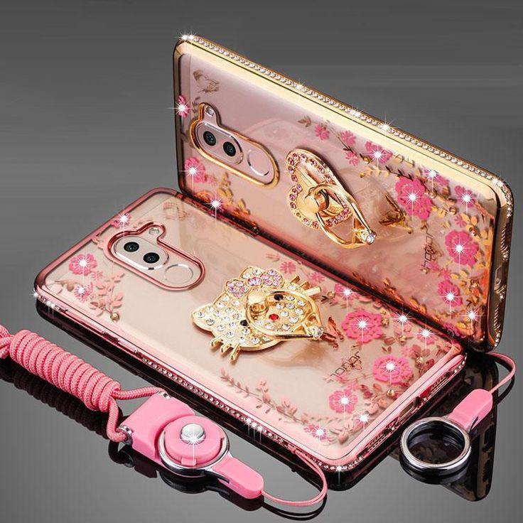 "Huawei Honor 6X 5.5"" Plus Glitter Cute Luxury 3D Diamond Cover Gold Pink Phone Coque Fundas"