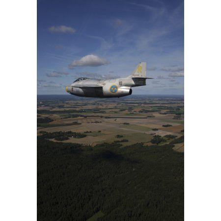 Saab J 29 vintage jet fighter of the Swedish Air Force Historic Flight Canvas Art - Daniel KarlssonStocktrek Images (24 x 35)