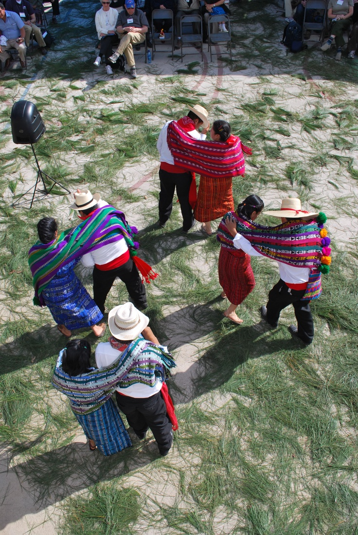 Students performing a traditional dance at a Cooperative for Education school inauguration in #Guatemala.