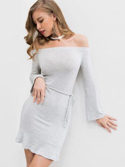 6781c57fd988 Off Shoulder Ruffles Belted Knit Dress in 2019