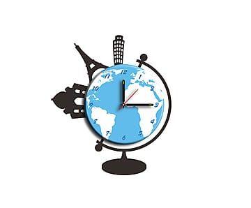 Настенный стикер-часы World - пластик - Ш40хВ48