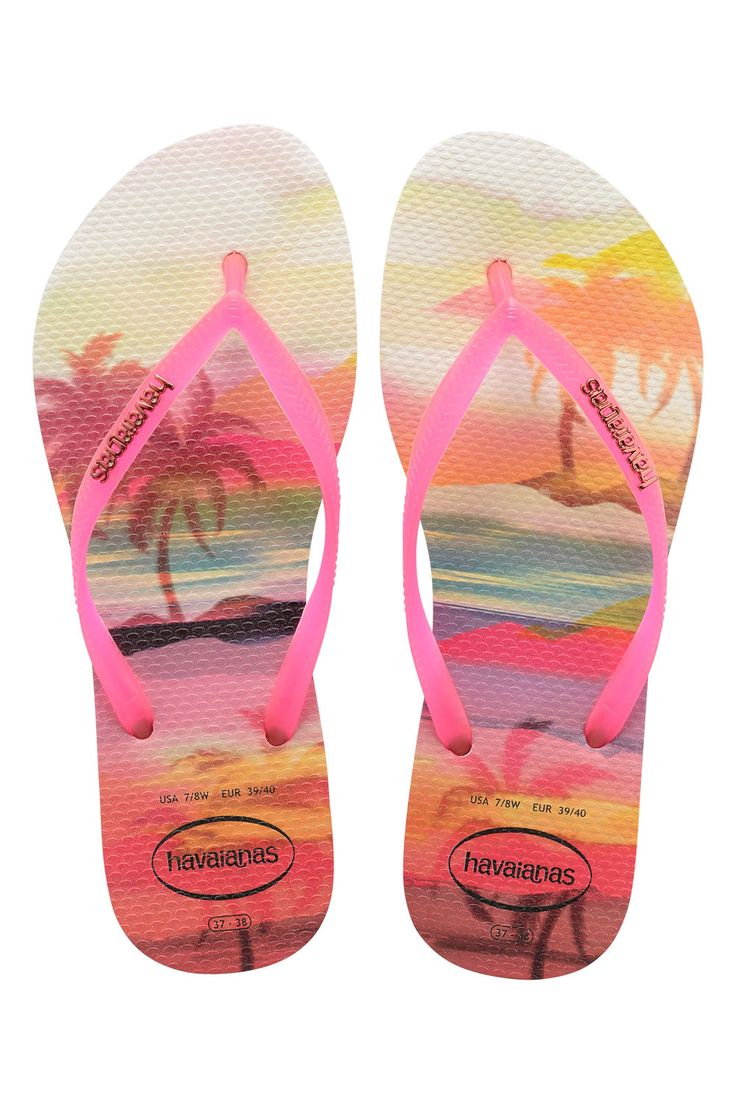 The Havaiana Slim features a sleek pink strap and Havaianas logo with their  signature textured footbed