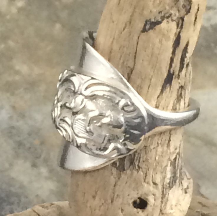 Victorian Spoon Ring 1874 - Crafted from a Rare Antique Spoon with Cherub Playing a Lyre - Hallmarked London -  Handmade by Adrift Crafts by AdriftCrafts on Etsy