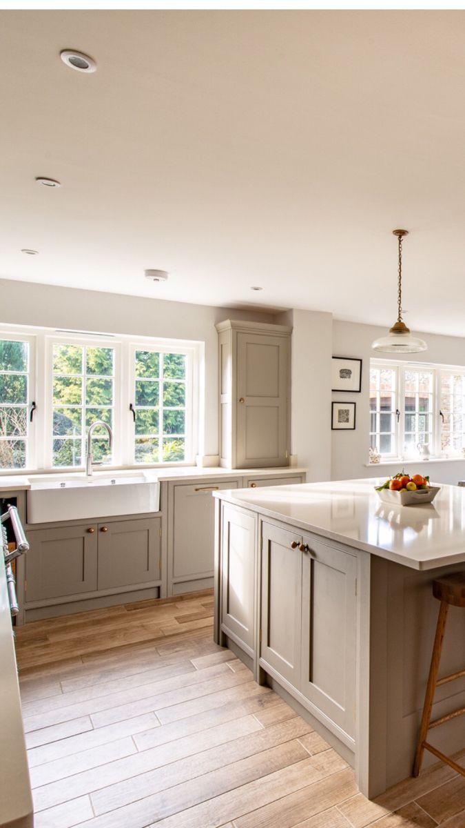 Peek Inside The Kent Farmhouse Kitchen In 2020 Beige Kitchen Greige Kitchen Cabinets Taupe Kitchen