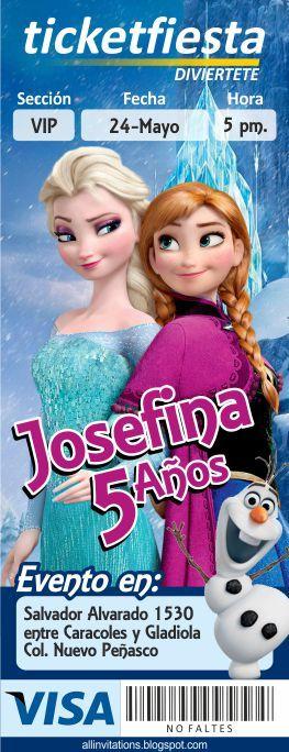 Plantilla de Invitación tipo Ticketmaster con el tema de Frozen