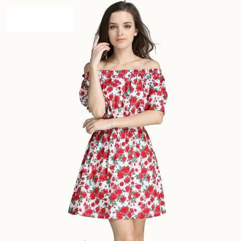 Fashion Women cherry Maxi Long Casual Summer Autumn Beach Party cotton Dress